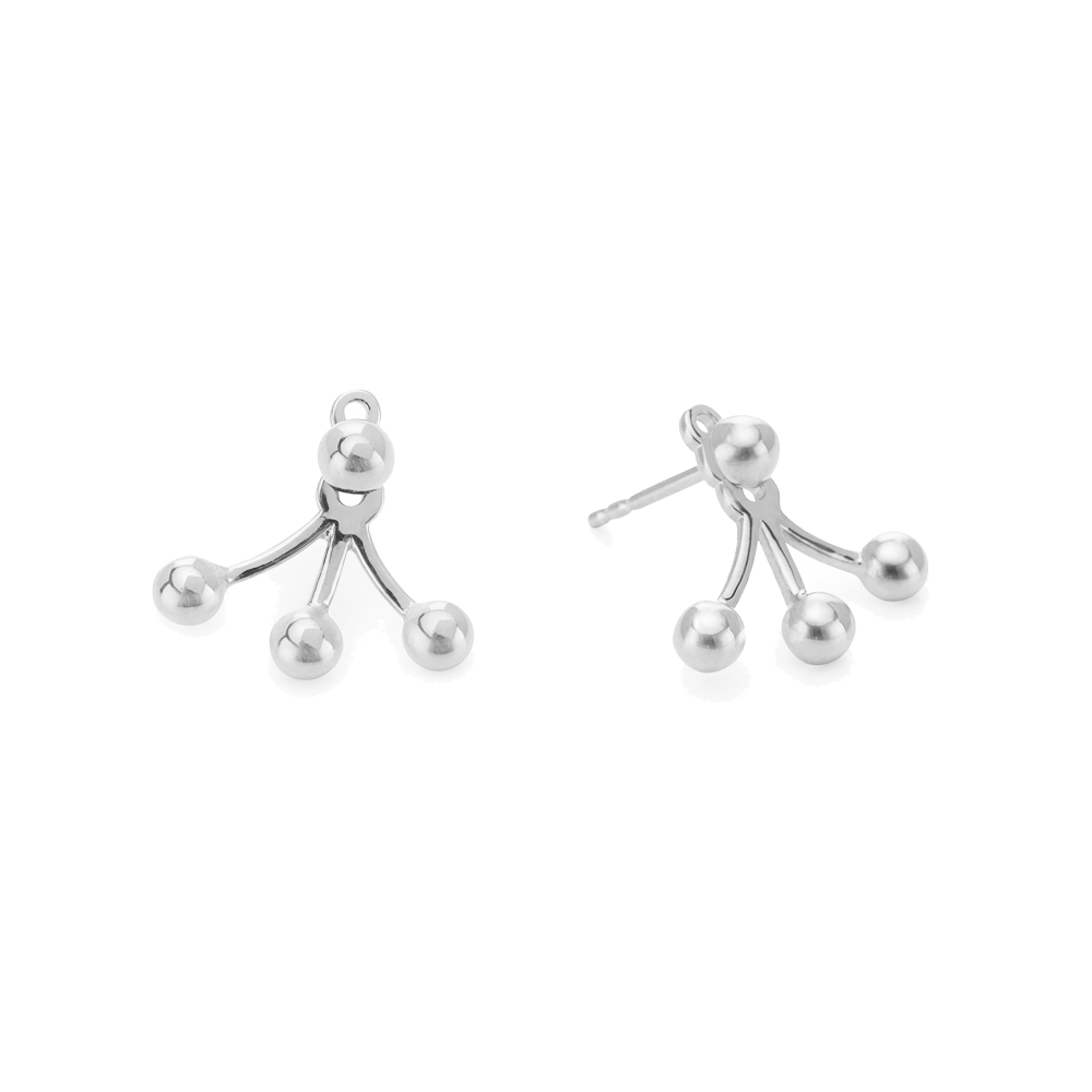 Dots Ear Jackets Silver
