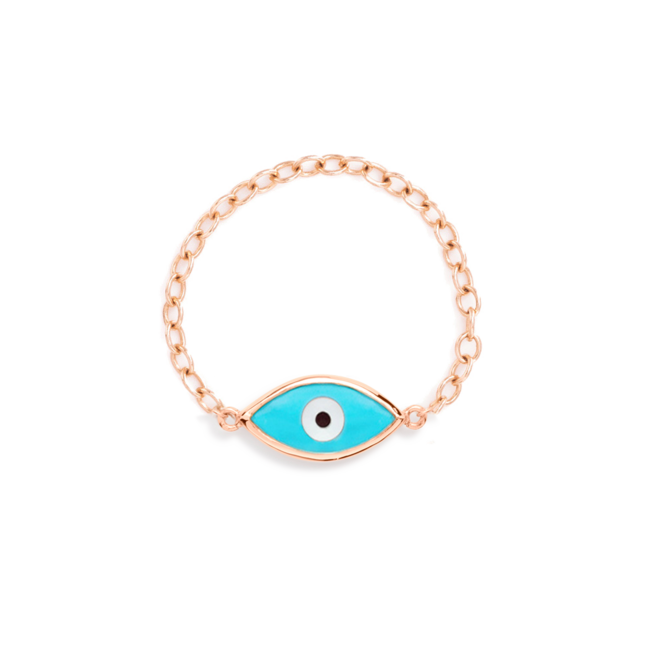 Evil eye ring Blue Rose Gold