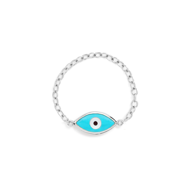 Silver Evil Eye Chain Ring Blue