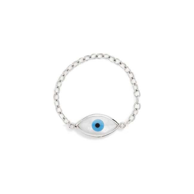 Silver Evil Eye Chain Ring