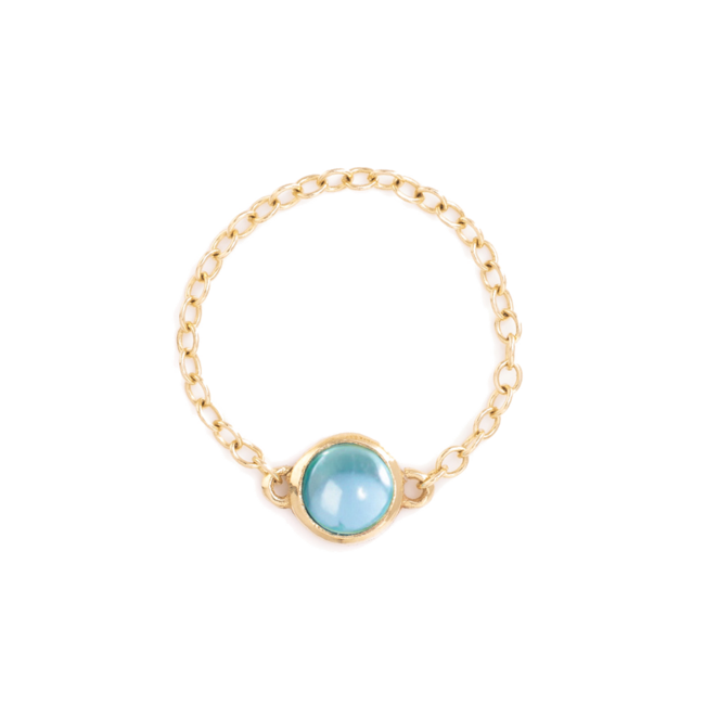 Blue Topaz Pop Chain ring