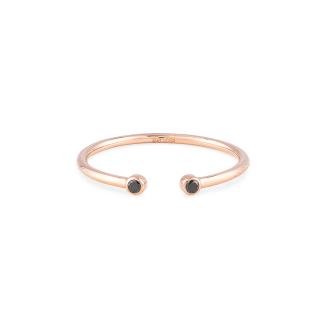 Black Diamonds Open Ring Rose Gold