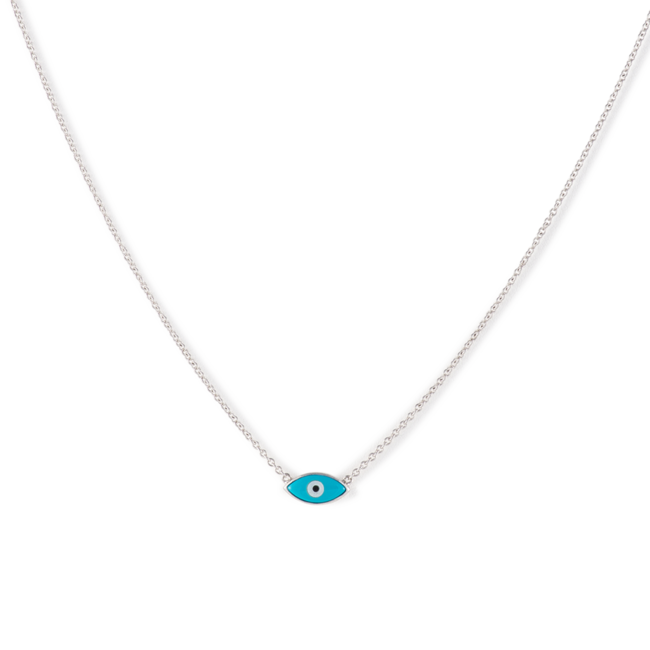Silver Evil Eye Necklace Blue
