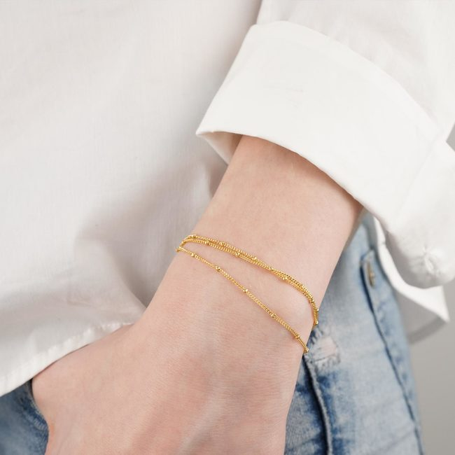 Layered Spheres Bracelet Gold Vermeil