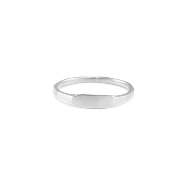 Edged Pinky Ring Silver