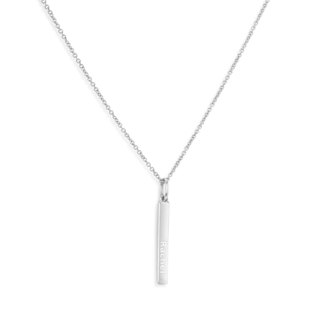 Engravable Bar Necklace Silver