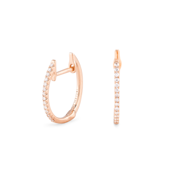 Diamonds Line Hoops Rose Gold
