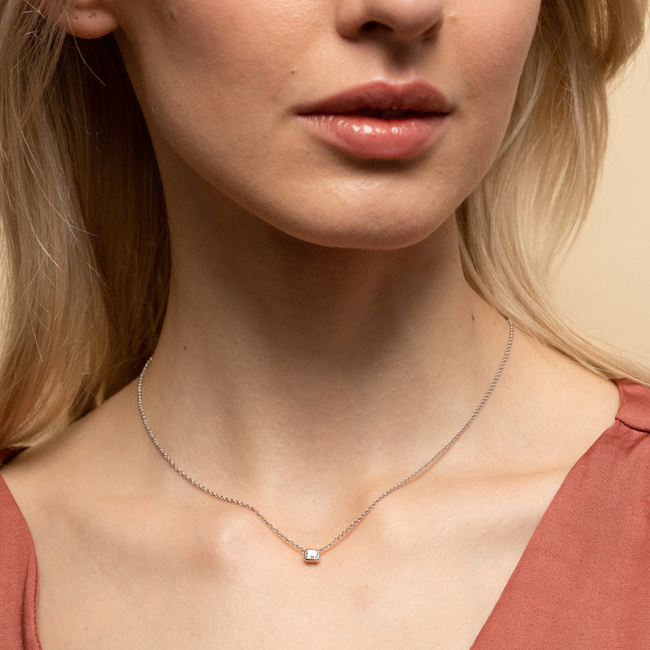 Emerald Cut Necklace Silver
