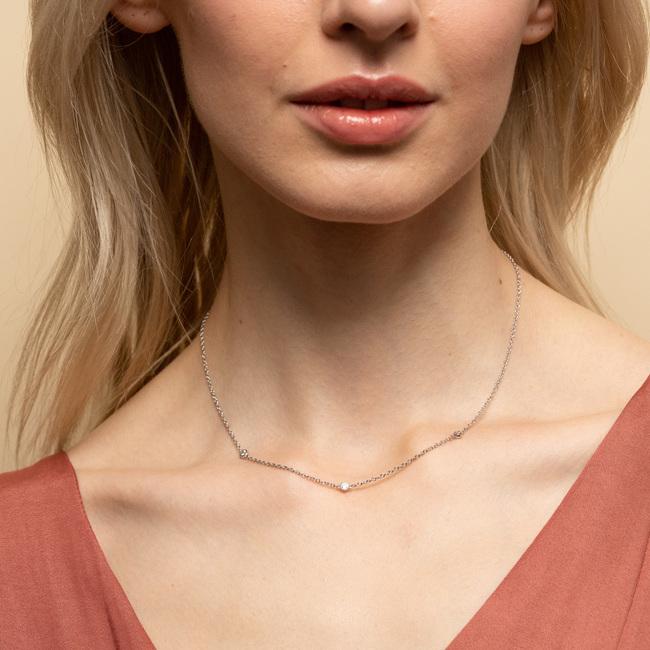 Satellite Necklace White Sapphire Silver