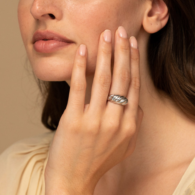 Croissant Dome Ring Silver