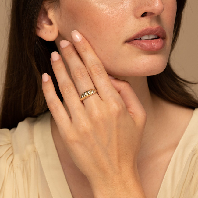 Thin Croissant Dome Ring