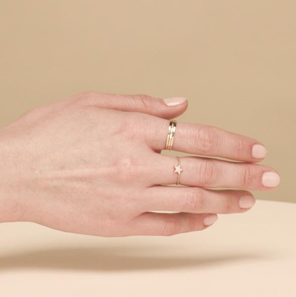 Diamonds Pave Star Chain Ring Mejuri